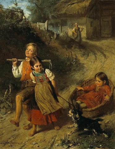 Adolf Eberle (German, 1843-1914) Childhood fun 15 x 12in (38.1 x 30.5cm)