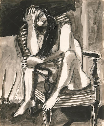 Frank Lobdell (American, born 1921) Nude on a Striped Chair, 1968 16 3/4 x 13 3/4in (42.5 x 35cm)