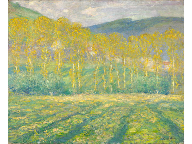 Guy Rose (American, 1867-1925) Yellow Trees, Giverney  23 1/2 x 28 3/4in