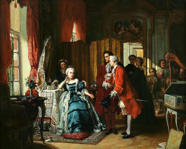 Jean Carolus (Belgian, 1814-1897) Holding court 32 x 40in (81 x 102cm)