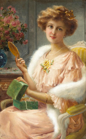 Emile Vernon (British, 1872-1919) A young lady with a mirror 30 x 20in (76.2 x 50.8cm)