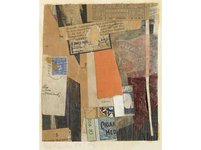 Kurt Schwitters (German, 1887-1948) Cigar, 1947 7 x 5 3/4in (17.7 x 15cm)