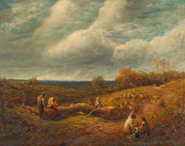 Attributed to James Thomas Linnell (British, 1820-1905) An extensive landscape 28 x 36in