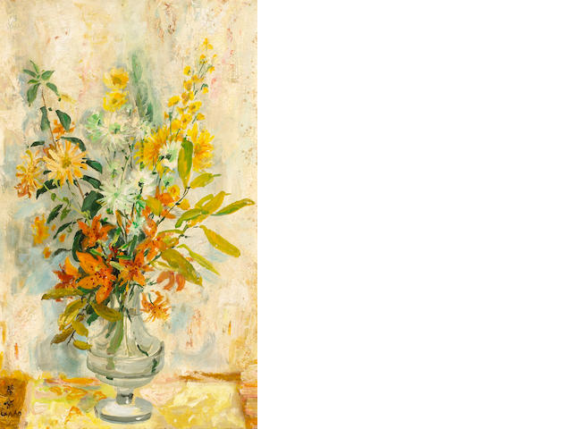Le Pho (French, 1907-2001) Fleurs 24 x 15in (61 x 38cm)