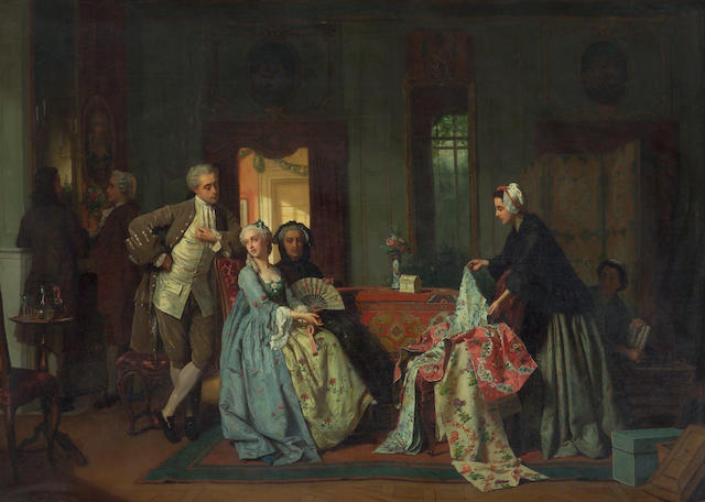 Jean Carolus (Belgian, 1814-1897) Choosing the new dress 35 1/2 x 49 1/2in (90 x 126cm)