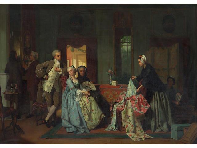 Jean Carolus (Belgian, 1814-1897) Choosing the new dress 35 1/2 x 49 1/2in (90 x 126cm)
