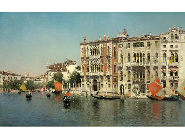 Martin Rico y Ortega (Spanish, 1833-1908) A view of Palazzo Cavalli and Palazzo Barbaro on the Grand Canal 32 x 51 1/2in (81.2 x 130.8cm)