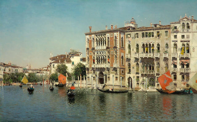 Martin Rico y Ortega (Spanish, 1833-1908) A view of Palazzo Cavalli and Palazzo Barbaro on the Grand Canal 32 x 51 1/2in (81.2 x 130.8cm)
