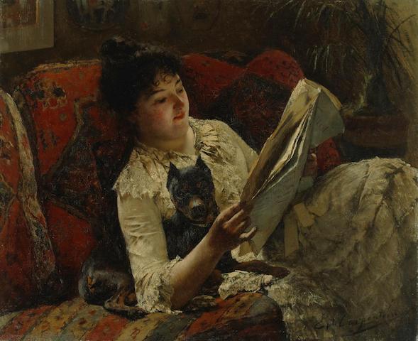 Evariste Carpentier (Belgian, 1845-1922) Reading the news 19 3/4 x 24in (50 x 61cm)