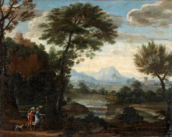 Circle of Giovanni Francesco Grimaldi (Italian, 1606-1680) Tobias and the angel 29 x 37in (73.8 X 94cm) unframed