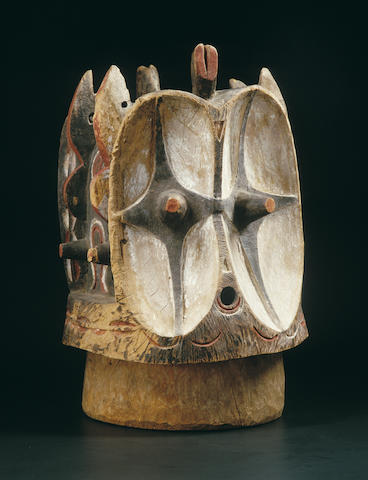 A Bembe janus helmet mask