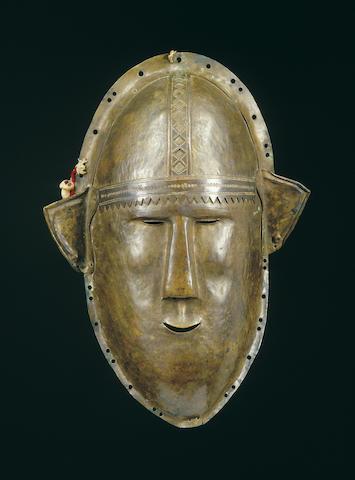 A Temne hammered brass mask