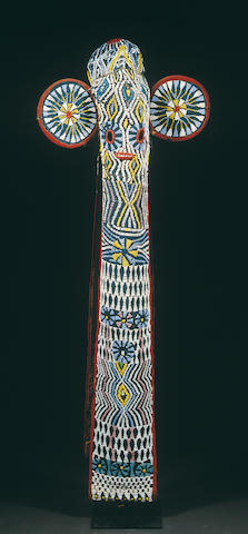 A Bamimileke cloth and beaded mask