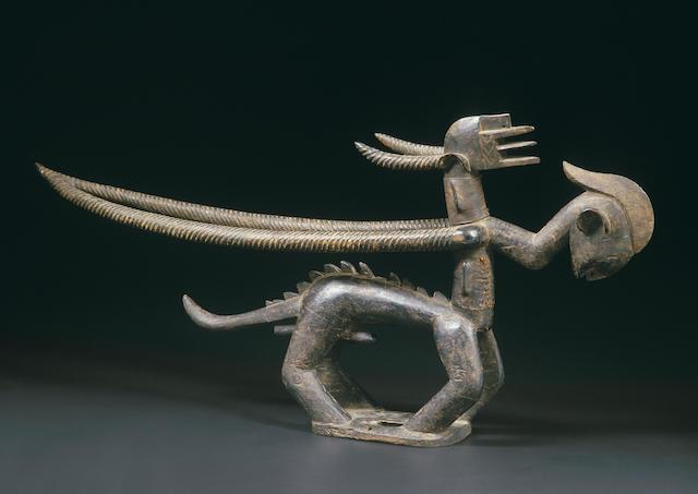 A Bamana antelope dance-crest, Chiwara Kun