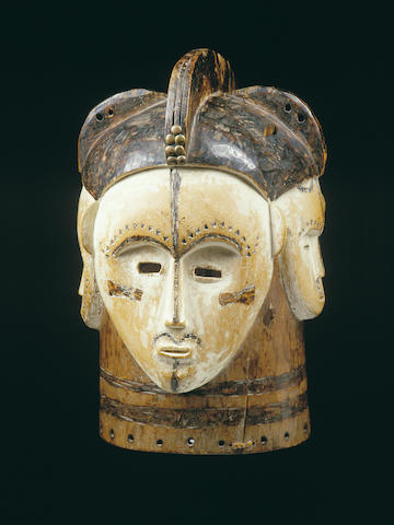 A Fang 'four-faced' helmet mask. Ngontanga