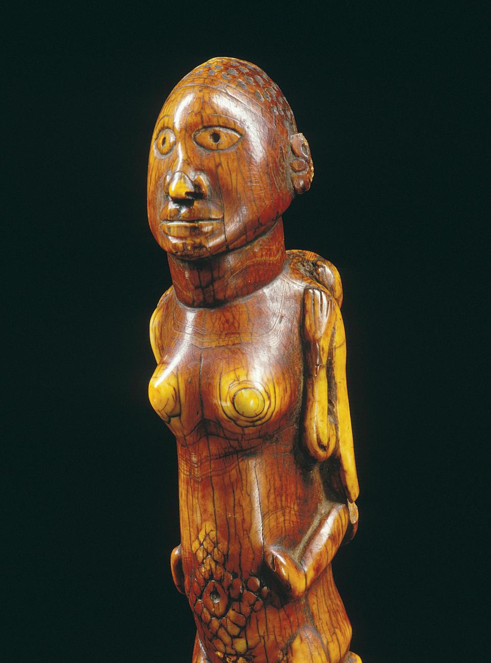 A Bakongo ivory maternity figure