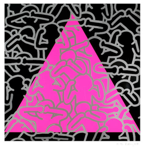 Keith Haring (American, 1958-1990); Silence Equals Death;