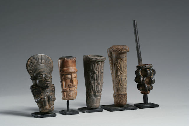 A group of Cameroon pipe bowls