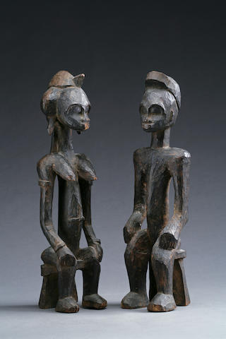 A pair of Senufo shrine figures