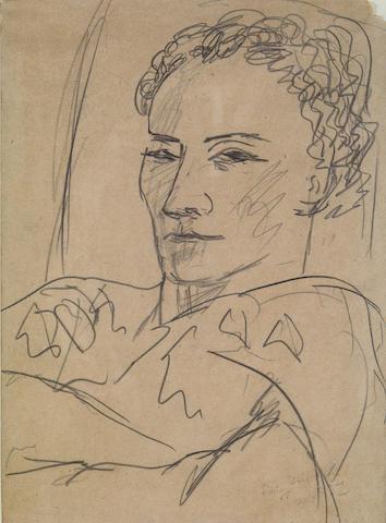 Max Beckmann (German, 1884-1950) Madame Pomaret I, 1937 12 X 9in (30.5 x 23cm)