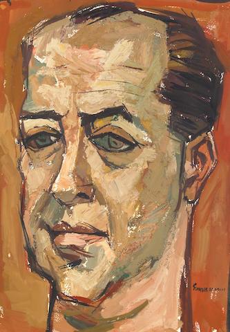 Oswaldo Guayasamín (Ecuadorian, 1919-1999) Portrait of a Man 21 1/2 x 15in (54.6 x 38cm)
