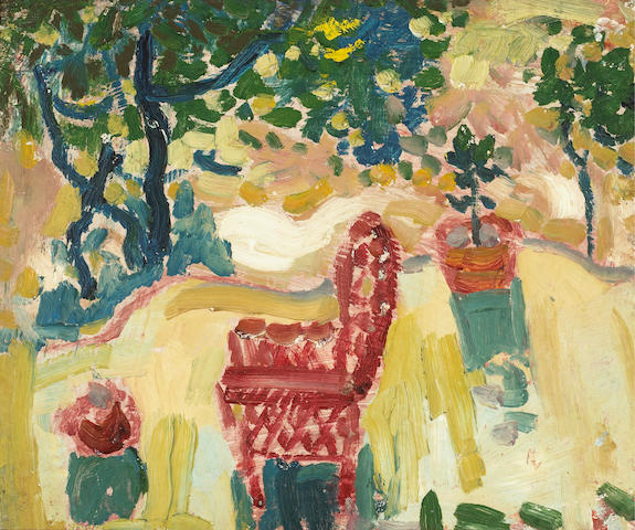 August Gay (American, 1890-1948) Garden Scene (Gile's Red Chair); Traveling Train Cars (double-sided) 15 x 18in