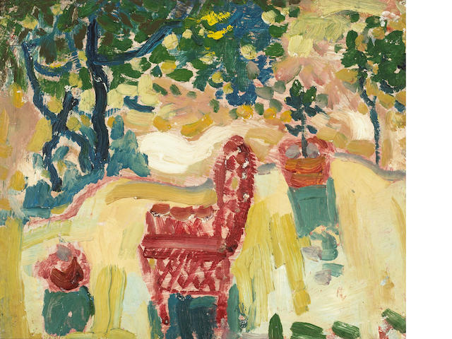 August Gay, Garden Scene, oil on board, 15 X 18 inches; Calf. colorists, Wonderful colors - illustra