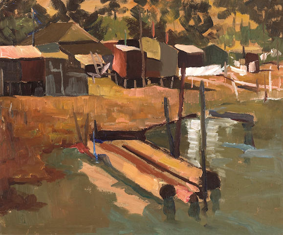 August Gay, Untitled (Pier), oil on board, 15 X 18 inches; -Wonderful Colors, Hearst Art Gallery, Mo