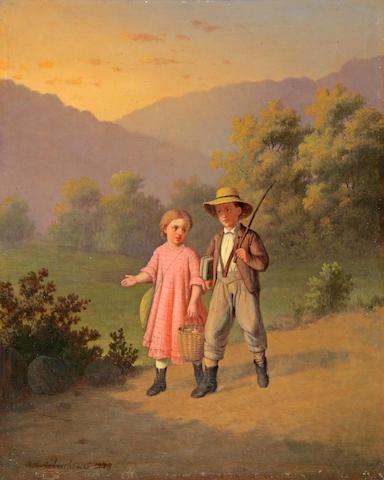 Johann Mongels Culverhouse (Dutch, 1820-1891) Children Walking Down a Path 10 x 8 1/4in
