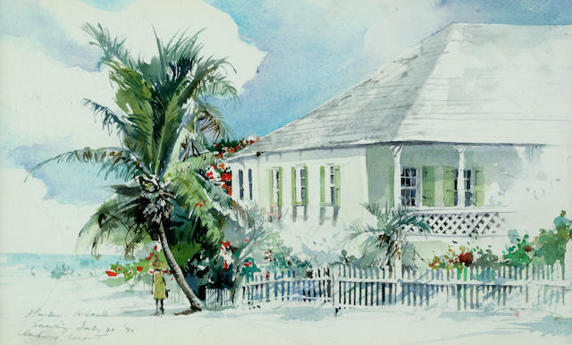 Stephen Scott Young (American, born 1957) Under a Coconut Tree sight 8 x 13in