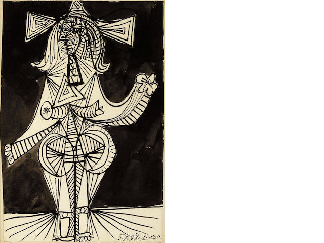 Pablo Picasso (Spanish, 1881-1973) Femme debout, 1938 8 x 5 3/8in (20.3 x 13.7cm)