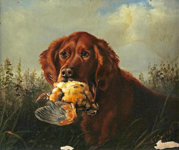 Arthur Fitzwilliam Tait (American, 1819-1905) Good Dog Retrieving Fowl 10 x 12in