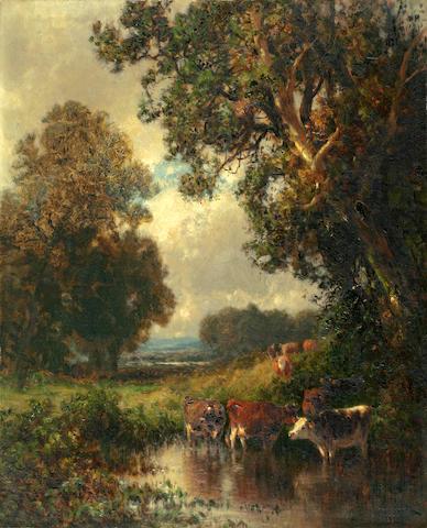 William M. Hart (American, 1823-1894) Autumn Landscape 16 1/2 x 13 1/2in