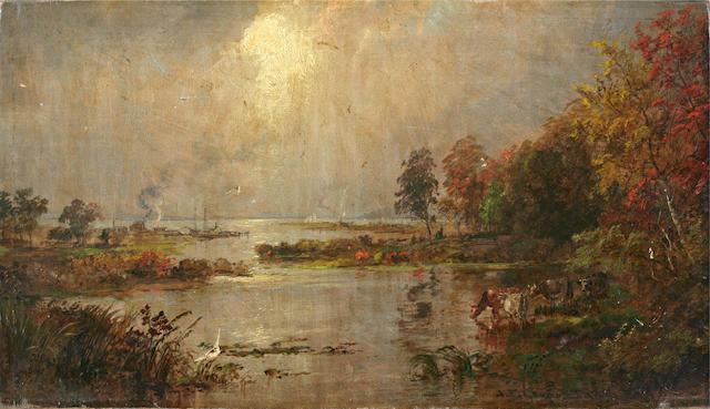 Jasper Francis Cropsey (American, 1823-1900) Hackensack Meadows 9 x 15 3/4in unframed