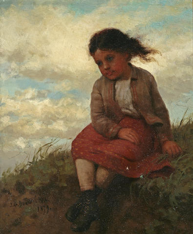 John George Brown (American, 1831-1913) Girl on Hillside 10 x 8in