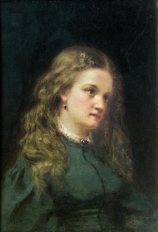 John George Brown (American, 1831-1913) Portrait of a Girl in a Green Dress 10 x 7in