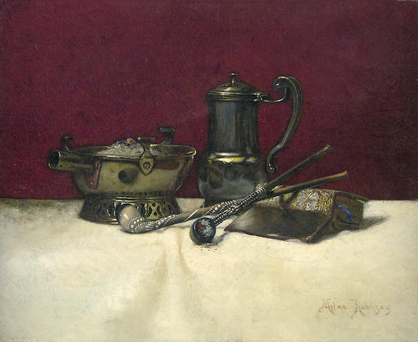 Milne Ramsey (American, 1847-1915) Still Life of Pipes, an Open Book, a Metal Pitcher and a Brazier 18 x 22in