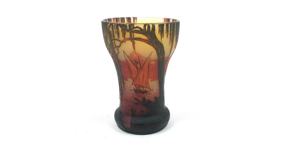 A De Vez cameo glass scenic vase