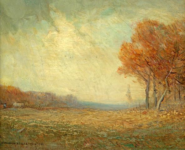 Benjamin Osro Eggleston (American, 1867-1937) Autumn Fields, Landscape with a Woman, and Landscape: three 8 x 10in; 7 x 9in; 4 1/4 x 6in