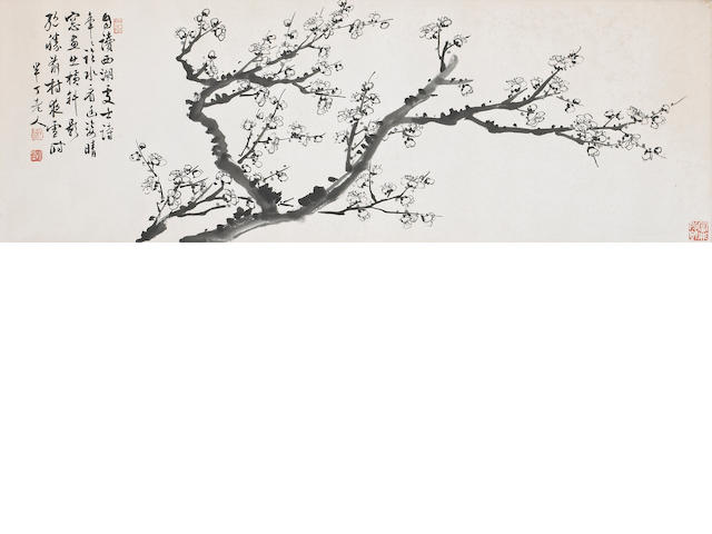 Chen Banding(1876-1970): Plum blossoms, framed and glazed