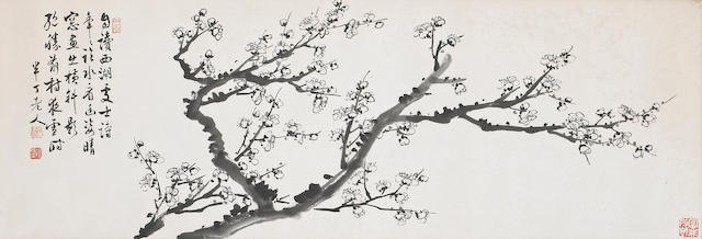 Chen Banding(1876-1970): Plum blossoms, framed and glazed