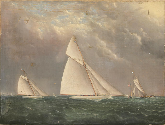 "James Edward Buttersworth (British/American, 1817-1894) Regatta with Yachts ""Mayflower"" and ""Huron"""