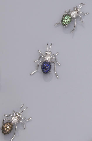Group of Gem-Set Insect Brooches