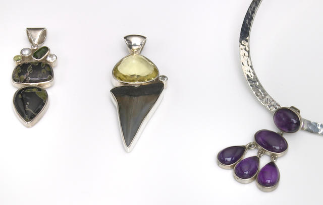 Group of Three Gemstone and Fossil Pendants and a Silver Necklace