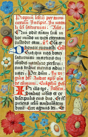 [ILLUMINATED MANUSCRIPT LEAF.]