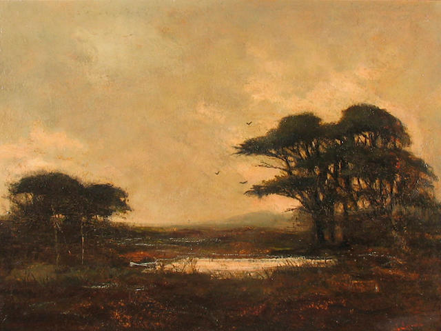 Johann Schuld (Dutch/American, 1870-1943) A Landscape with a Pond at Dusk 12 x 16in