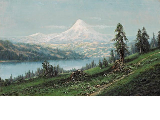 Ransom Gillet Holdredge (American, 1836-1899) Mount Hood, Oregon 22 x 36in