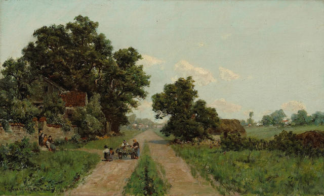 Ransom Gillet Holdredge (American, 1836-1899) A Country Road in France  12 x 20in unframed