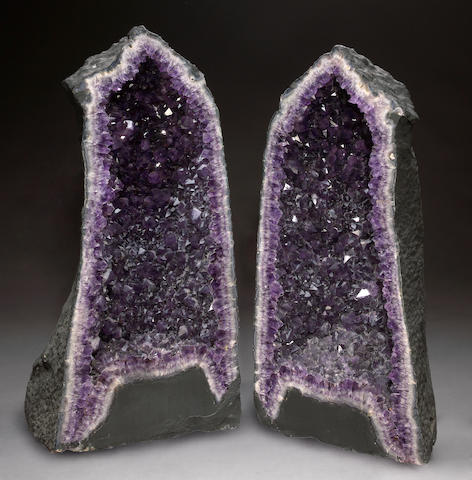 Large Amethyst Geode Pair