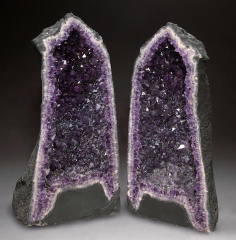Large Amethyst Geode Pair